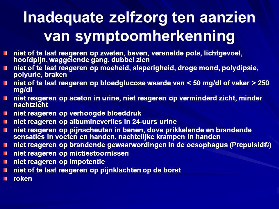 Inadequate zelfzorg ten aanzien van symptoomherkenning niet of te laat reageren op zweten, beven, versnelde pols, lichtgevoel, hoofdpijn, waggelende g