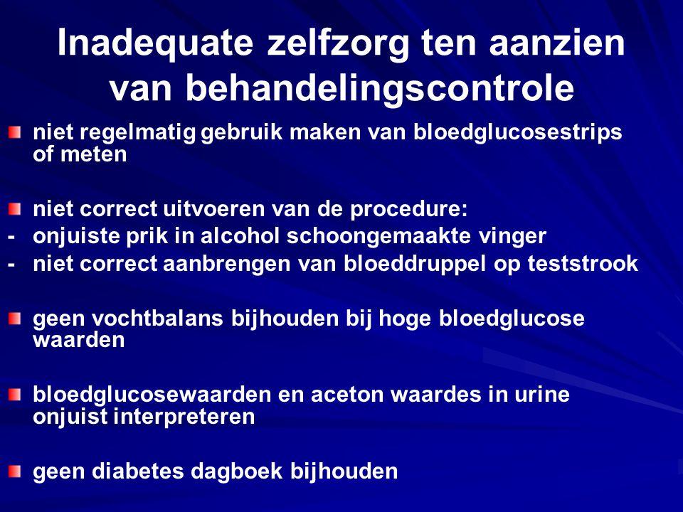 Inadequate zelfzorg ten aanzien van behandelingscontrole niet regelmatig gebruik maken van bloedglucosestrips of meten niet correct uitvoeren van de p