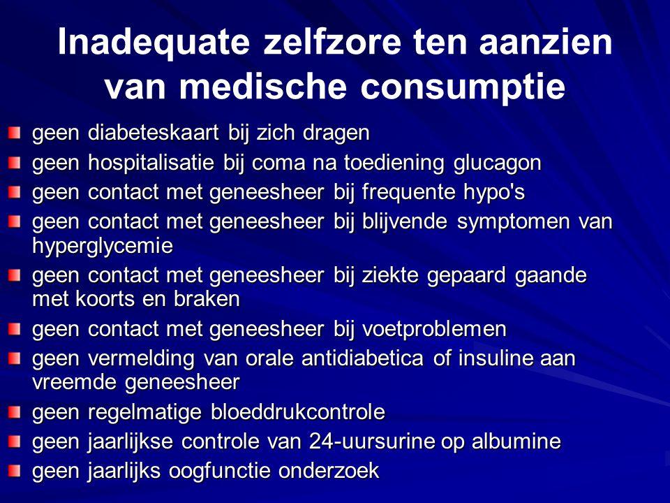 Inadequate zelfzore ten aanzien van medische consumptie geen diabeteskaart bij zich dragen geen hospitalisatie bij coma na toediening glucagon geen co