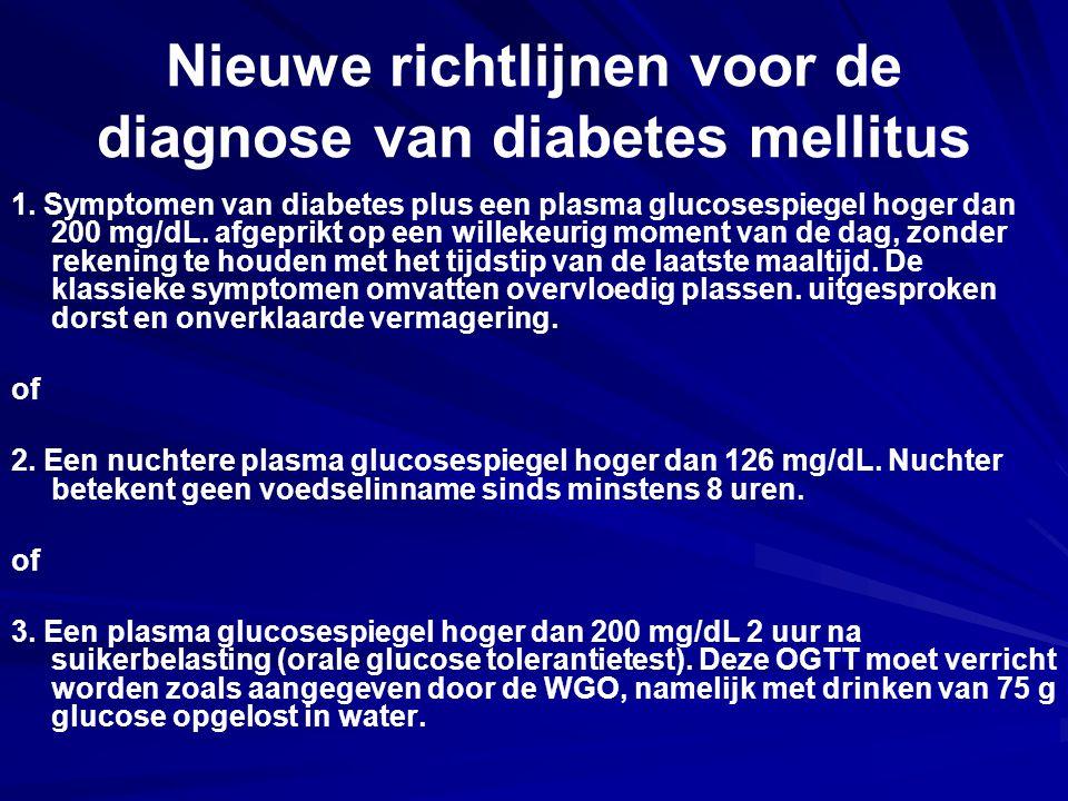 Nieuwe richtlijnen voor de diagnose van diabetes mellitus 1. Symptomen van diabetes plus een plasma glucosespiegel hoger dan 200 mg/dL. afgeprikt op e