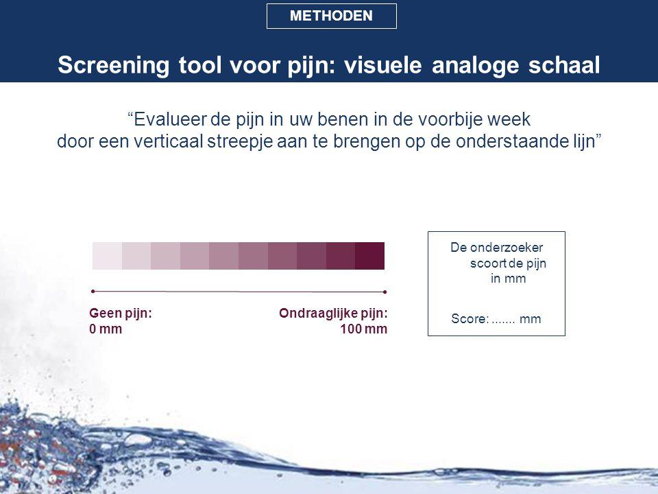 """Screening tool voor pijn: visuele analoge schaal """"Evalueer de pijn in uw benen in de voorbije week door een verticaal streepje aan te brengen op de on"""