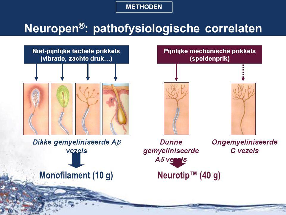 Neuropen ® : pathofysiologische correlaten Monofilament (10 g)Neurotip™ (40 g) Niet-pijnlijke tactiele prikkels (vibratie, zachte druk…) Pijnlijke mec