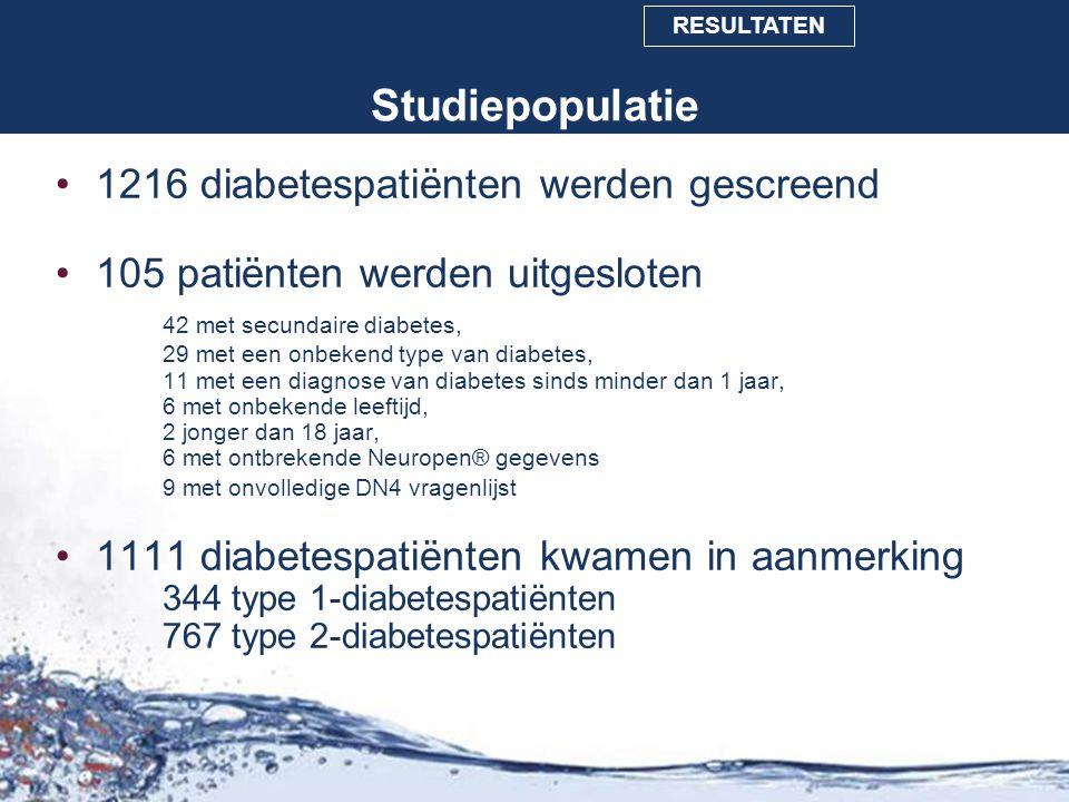 Studiepopulatie 1216 diabetespatiënten werden gescreend 105 patiënten werden uitgesloten 42 met secundaire diabetes, 29 met een onbekend type van diab