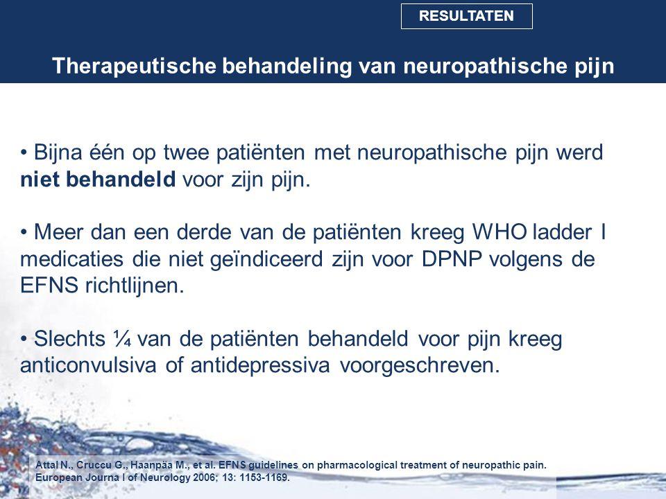 Therapeutische behandeling van neuropathische pijn Bijna één op twee patiënten met neuropathische pijn werd niet behandeld voor zijn pijn. Meer dan ee