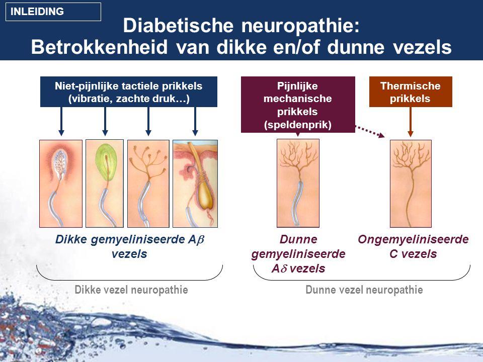 Screening tool voor neuropathische pijn: DN4 Gevalideerde screening tool voor neuropathische pijn: DN4 vragenlijst: –Onderscheid maken tussen neuropathische en niet-neuropathische pijn bij patiënten met pijn in de benen –Gebruik eerst de visuele analoge schaal (VAS) voor het evalueren van de pijnintensiteit –Gebruik daarna de DN4 vragenlijst bij VAS+ patiënten (= patiënten met pijn) –DN4 vragenlijst niet specifiek voor diabetische neuropathische pijn –VAS+/DN4+ gedefinieerd als 'neuropathische pijn' VAS+/DN4- gedefinieerd als 'pijn van niet-neuropathische oorsprong' Bouhassira et al.
