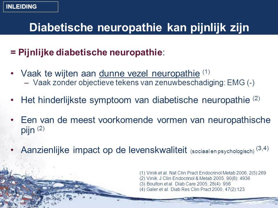 Prevalentie bij type 1- en type 2-patiënten * Na correctie voor de leeftijd en de duur van de diabetes, p=0,002 50,8 % neuropathie (NP+) n = 390 25,6% neuropathie (NP+) n = 88 Type 2 n = 767 Type 1 n = 344 1/3 pijnlijke neuropathie (NP+/DN4+) n = 137 1/5 pijnlijke neuropathie (NP+/DN4+) n = 20 5,8% van alle type 1-patiënten - 17,9% van alle type 2- patiënten lijden aan pijnlijke neuropathie* CONCLUSIONOBJECTIEVEN INLEIDING METHODEN RESULTATEN