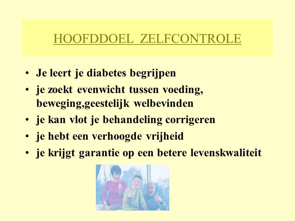 HOOFDDOEL ZELFCONTROLE Je leert je diabetes begrijpen je zoekt evenwicht tussen voeding, beweging,geestelijk welbevinden je kan vlot je behandeling co