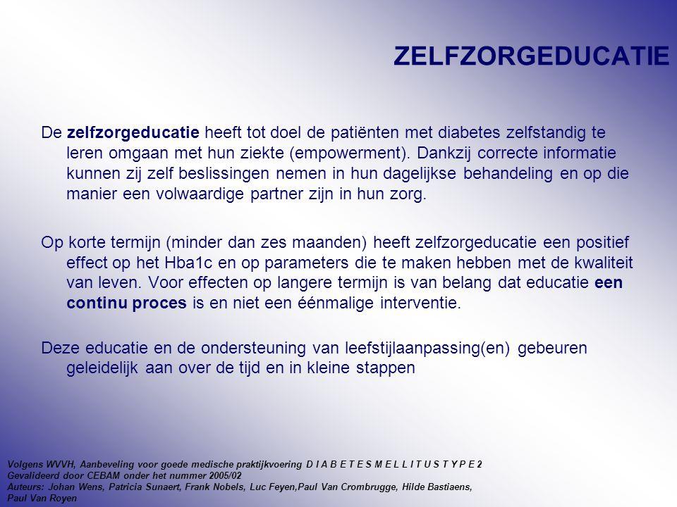 ZELFZORGEDUCATIE De zelfzorgeducatie heeft tot doel de patiënten met diabetes zelfstandig te leren omgaan met hun ziekte (empowerment).
