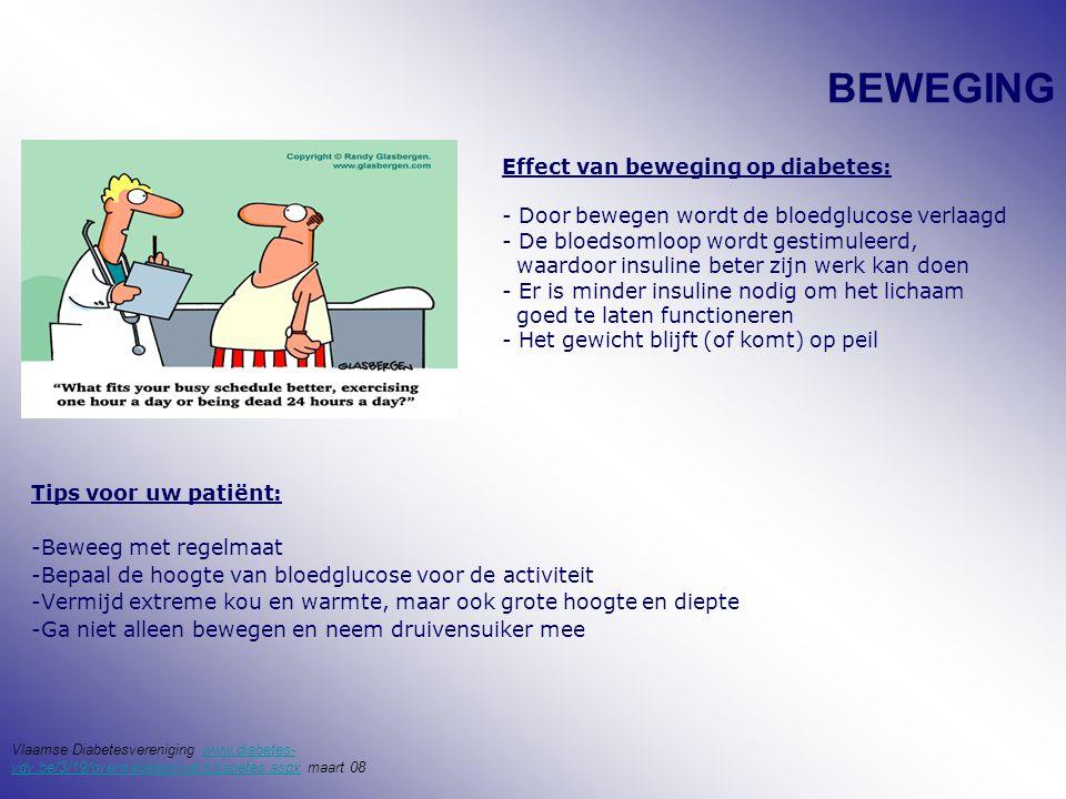 BEWEGING Tips voor uw patiënt: -Beweeg met regelmaat -Bepaal de hoogte van bloedglucose voor de activiteit -Vermijd extreme kou en warmte, maar ook grote hoogte en diepte -Ga niet alleen bewegen en neem druivensuiker mee Effect van beweging op diabetes: - Door bewegen wordt de bloedglucose verlaagd - De bloedsomloop wordt gestimuleerd, waardoor insuline beter zijn werk kan doen - Er is minder insuline nodig om het lichaam goed te laten functioneren - Het gewicht blijft (of komt) op peil Vlaamse Diabetesvereniging www.diabetes- vdv.be/3/19/overdiabetes/watisdiabetes.aspx maart 08www.diabetes- vdv.be/3/19/overdiabetes/watisdiabetes.aspx