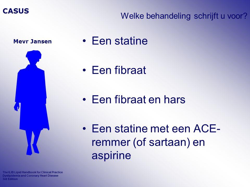 Welke behandeling schrijft u voor? Een statine Een fibraat Een fibraat en hars Een statine met een ACE- remmer (of sartaan) en aspirine CASUS Mevr Jan