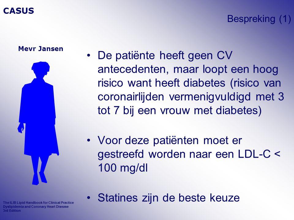 Bespreking (1) De patiënte heeft geen CV antecedenten, maar loopt een hoog risico want heeft diabetes (risico van coronairlijden vermenigvuldigd met 3