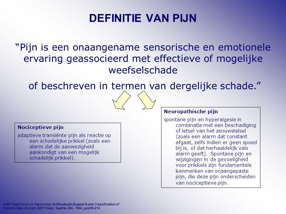 """DEFINITIE VAN PIJN """"Pijn is een onaangename sensorische en emotionele ervaring geassocieerd met effectieve of mogelijke weefselschade of beschreven in"""