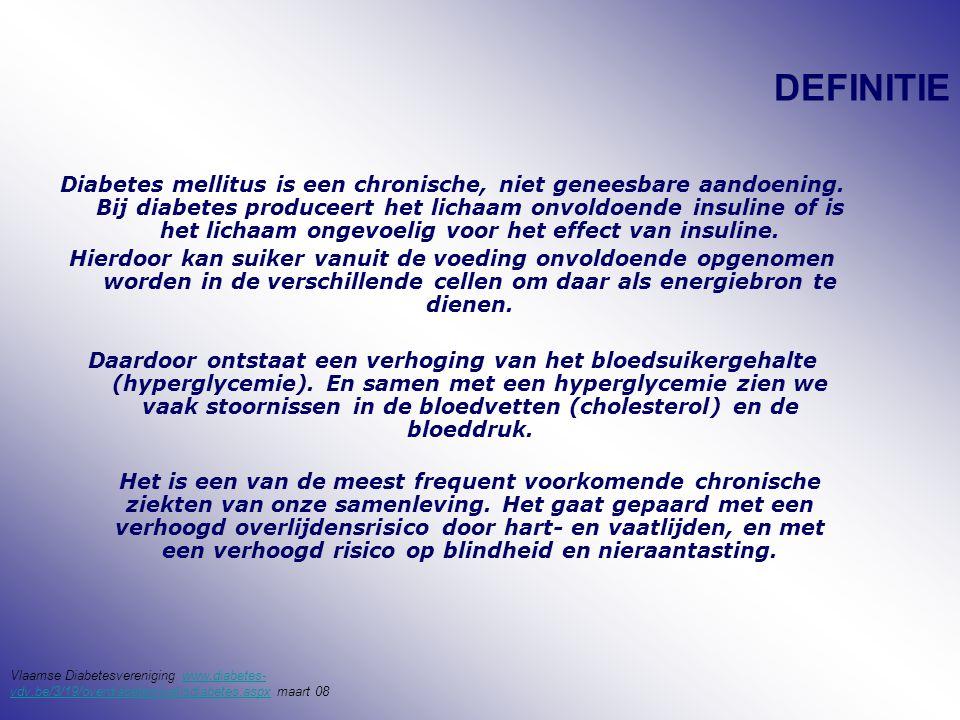 DEFINITIE Diabetes mellitus is een chronische, niet geneesbare aandoening. Bij diabetes produceert het lichaam onvoldoende insuline of is het lichaam