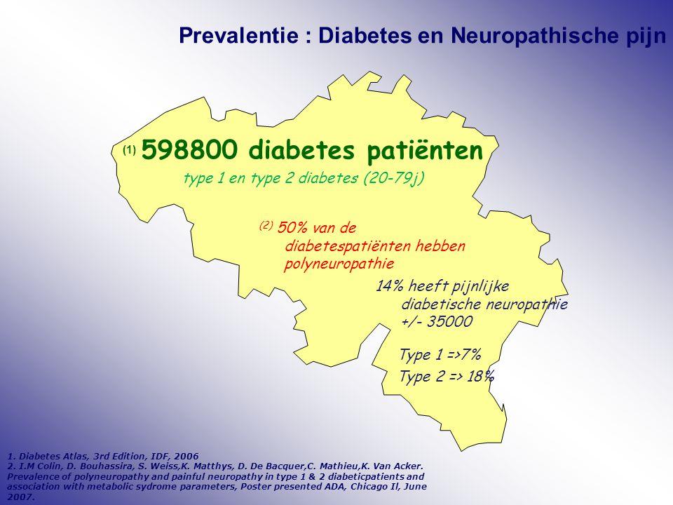 Prevalentie : Diabetes en Neuropathische pijn (1) 598800 diabetes patiënten type 1 en type 2 diabetes (20-79j) (2) 50% van de diabetespatiënten hebben polyneuropathie 14% heeft pijnlijke diabetische neuropathie +/- 35000 1.