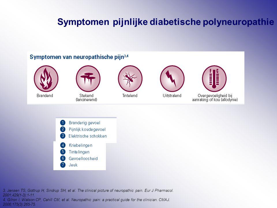Symptomen pijnlijke diabetische polyneuropathie 3. Jensen TS, Gottrup H, Sindrup SH, et al. The clinical picture of neuropathic pain. Eur J Pharmacol.
