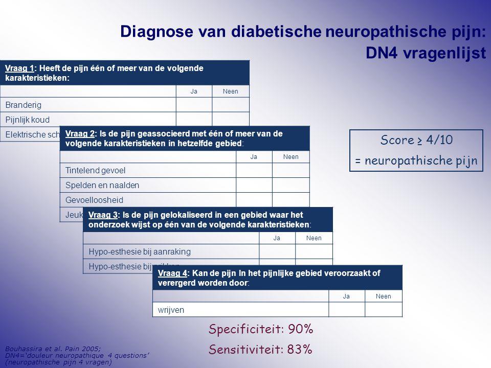 Bouhassira et al. Pain 2005; DN4='douleur neuropathique 4 questions' (neuropathische pijn 4 vragen) Diagnose van diabetische neuropathische pijn: DN4