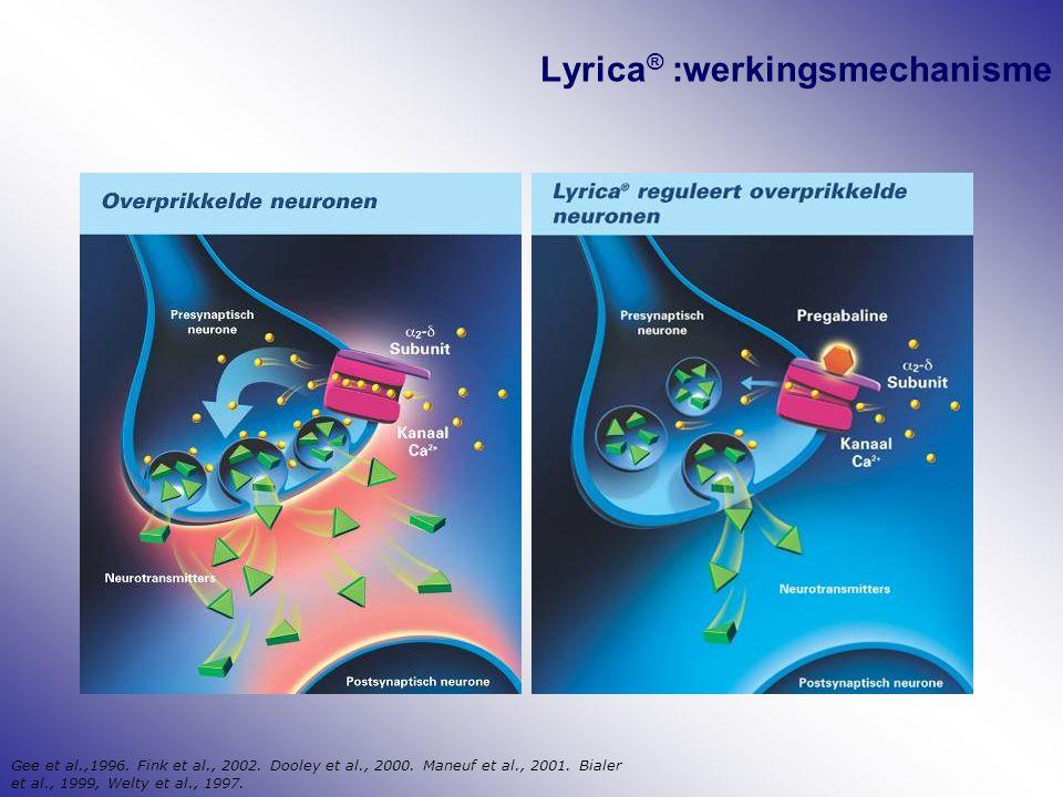 Lyrica ® :werkingsmechanisme Gee et al.,1996. Fink et al., 2002. Dooley et al., 2000. Maneuf et al., 2001. Bialer et al., 1999, Welty et al., 1997.