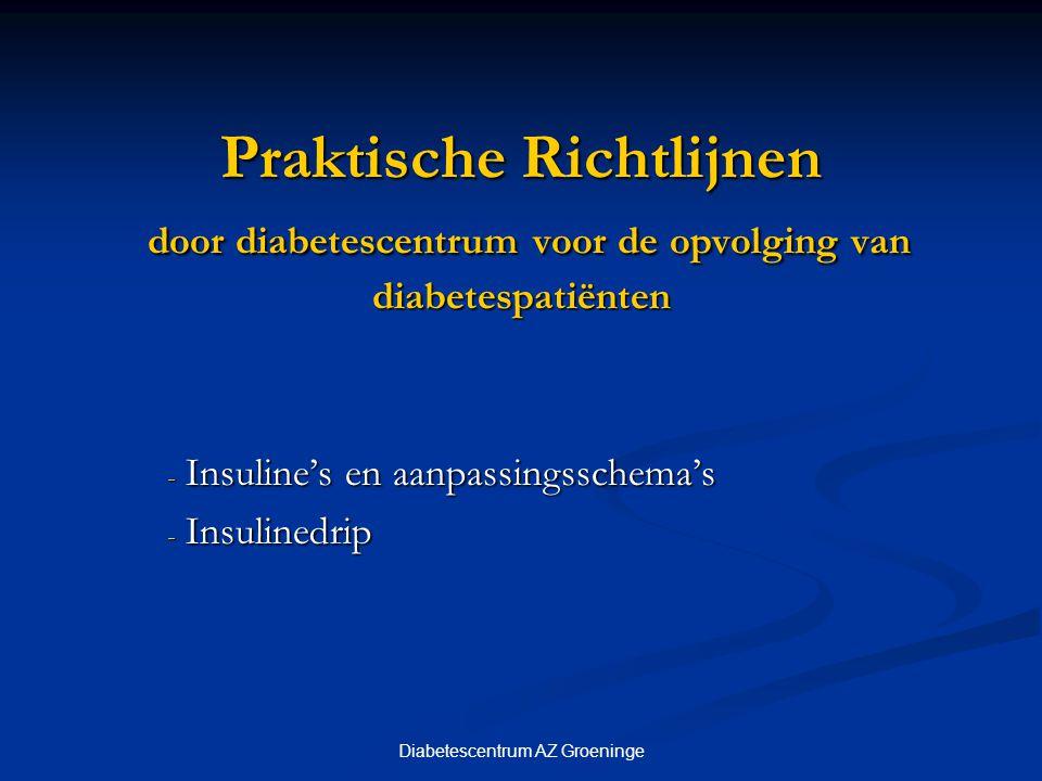 Diabetescentrum AZ Groeninge Praktische Richtlijnen door diabetescentrum voor de opvolging van diabetespatiënten - Insuline's en aanpassingsschema's -