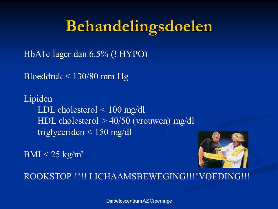 Diabetescentrum AZ Groeninge HbA1c lager dan 6.5% (! HYPO) Bloeddruk < 130/80 mm Hg Lipiden LDL cholesterol < 100 mg/dl HDL cholesterol > 40/50 (vrouw