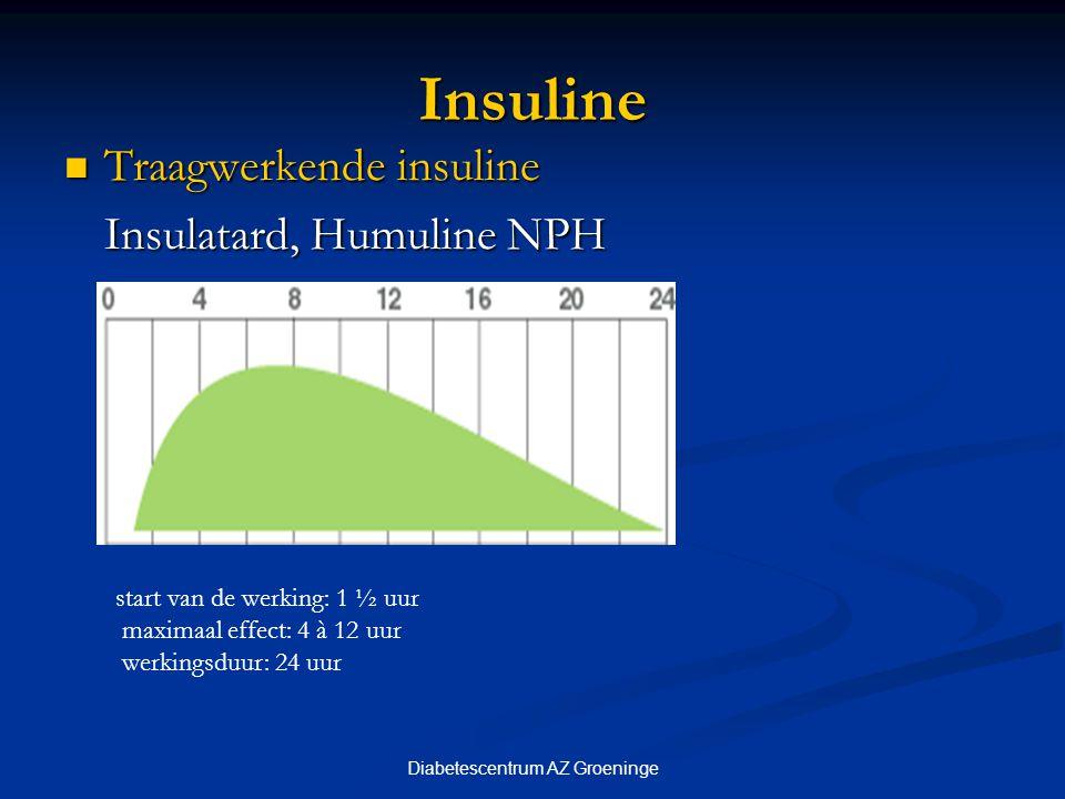 Diabetescentrum AZ Groeninge Insuline Traagwerkende insuline Traagwerkende insuline Insulatard, Humuline NPH start van de werking: 1 ½ uur maximaal ef