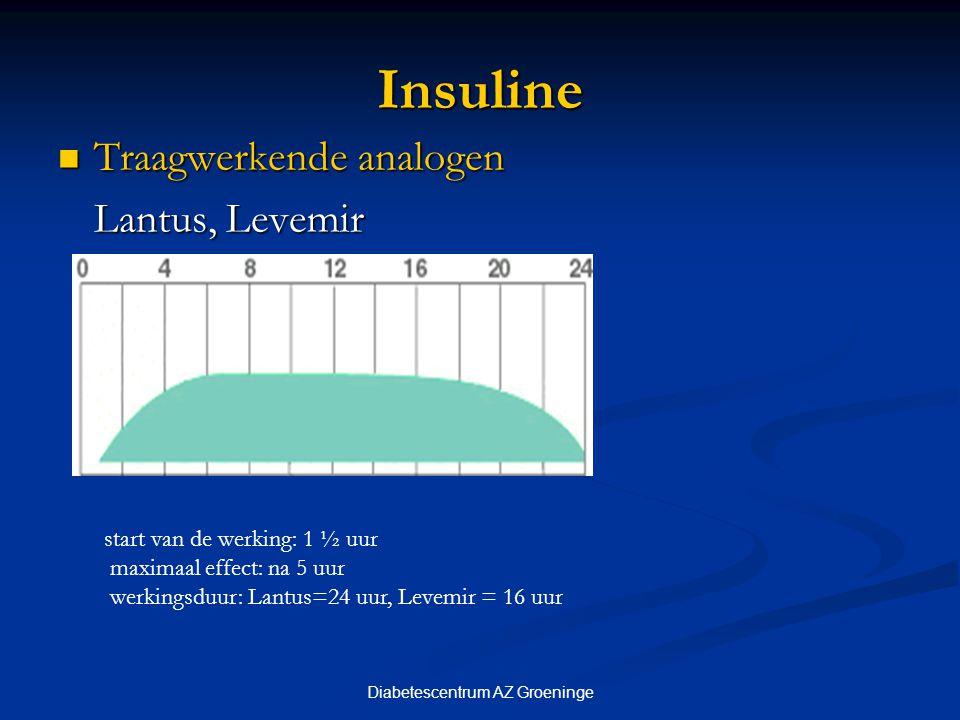 Diabetescentrum AZ Groeninge Insuline Traagwerkende analogen Traagwerkende analogen Lantus, Levemir start van de werking: 1 ½ uur maximaal effect: na