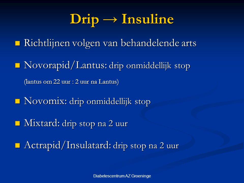 Diabetescentrum AZ Groeninge Drip → Insuline Richtlijnen volgen van behandelende arts Richtlijnen volgen van behandelende arts Novorapid/Lantus: drip