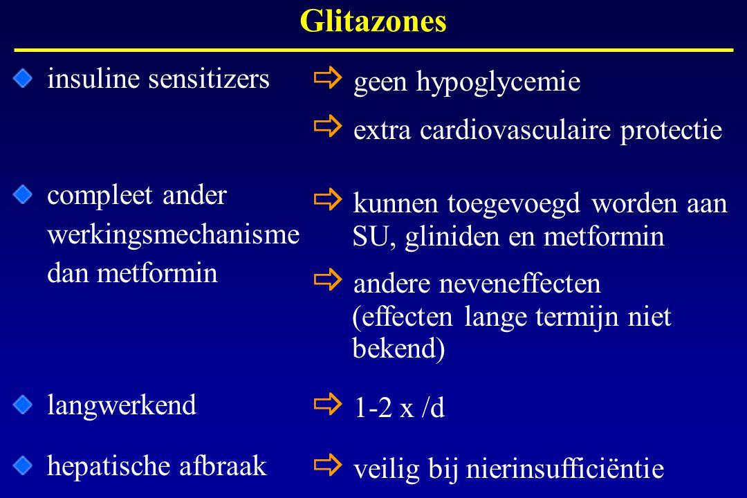 insuline sensitizers Glitazones  geen hypoglycemie  extra cardiovasculaire protectie  kunnen toegevoegd worden aan SU, gliniden en metformin  ande