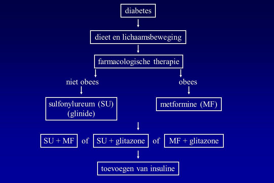 diabetes dieet en lichaamsbeweging farmacologische therapie niet obeesobees sulfonylureum (SU) (glinide) metformine (MF) SU + MF of SU + glitazone of