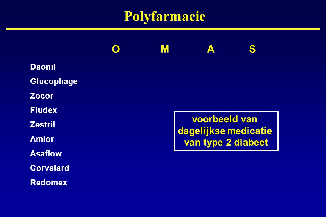 O M A S Daonil Glucophage Zocor Fludex Zestril Amlor Asaflow Corvatard Redomex voorbeeld van dagelijkse medicatie van type 2 diabeet Polyfarmacie