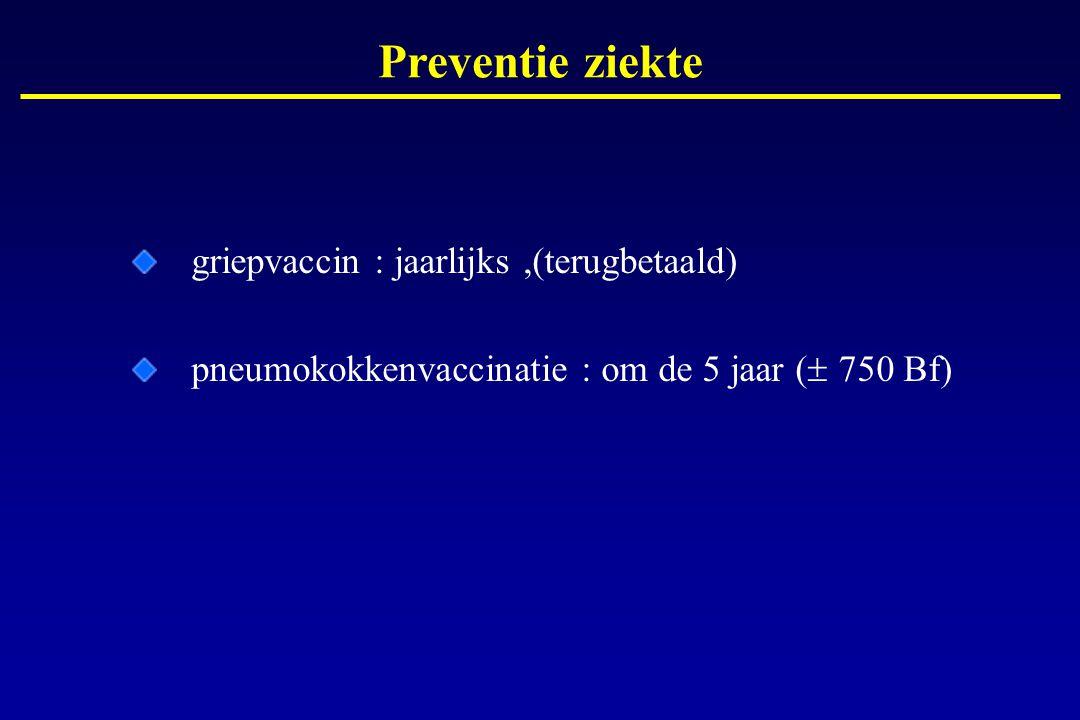griepvaccin : jaarlijks,(terugbetaald) pneumokokkenvaccinatie : om de 5 jaar (  750 Bf) Preventie ziekte