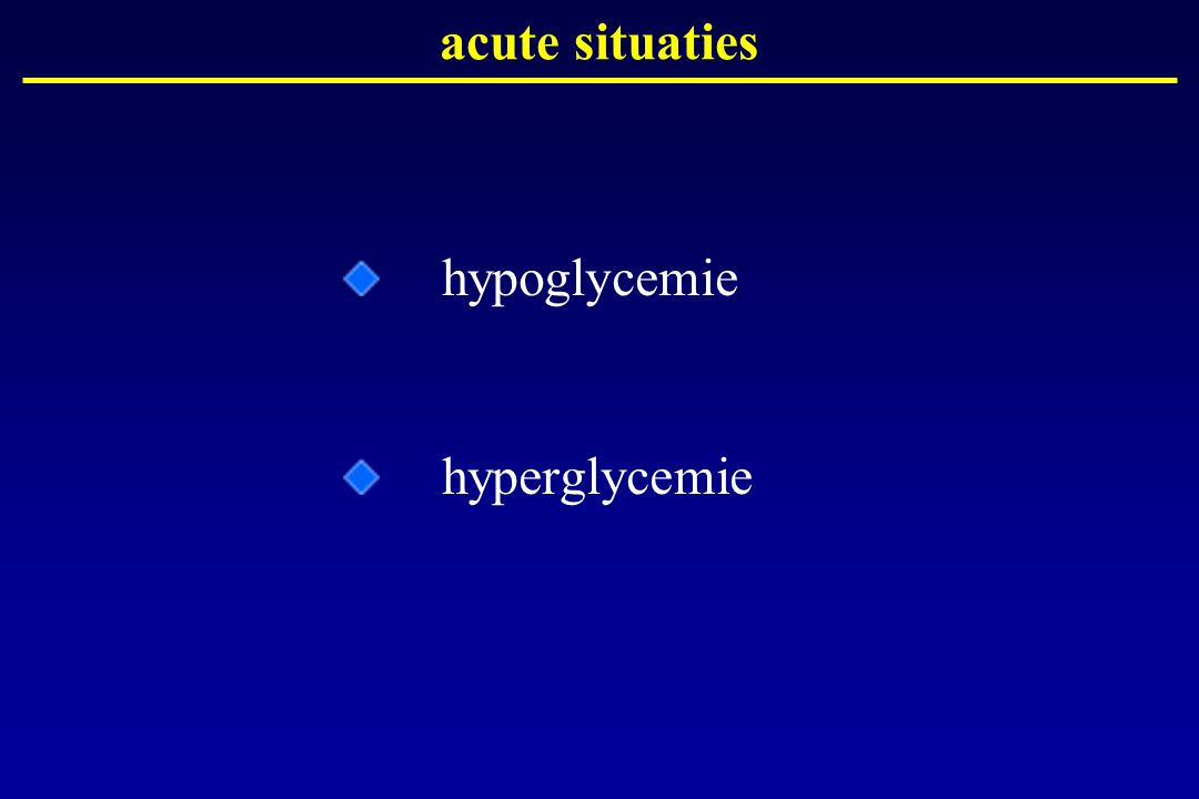 acute situaties hypoglycemie hyperglycemie