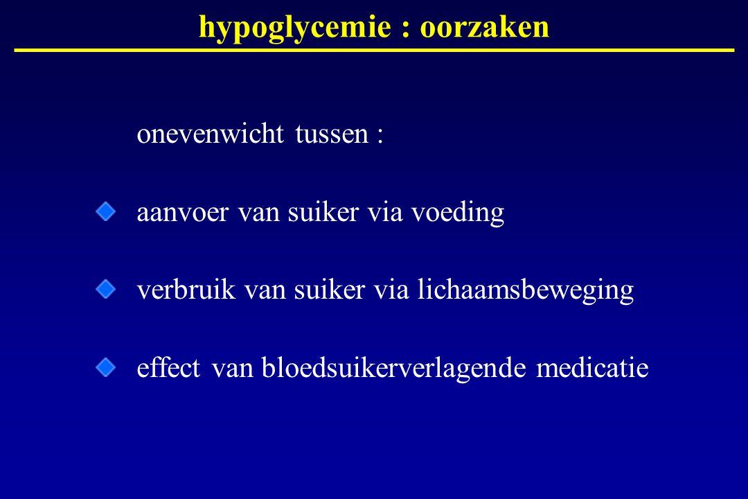 hypoglycemie : oorzaken onevenwicht tussen : aanvoer van suiker via voeding verbruik van suiker via lichaamsbeweging effect van bloedsuikerverlagende