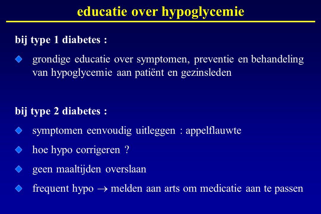 educatie over hypoglycemie bij type 1 diabetes : grondige educatie over symptomen, preventie en behandeling van hypoglycemie aan patiënt en gezinslede
