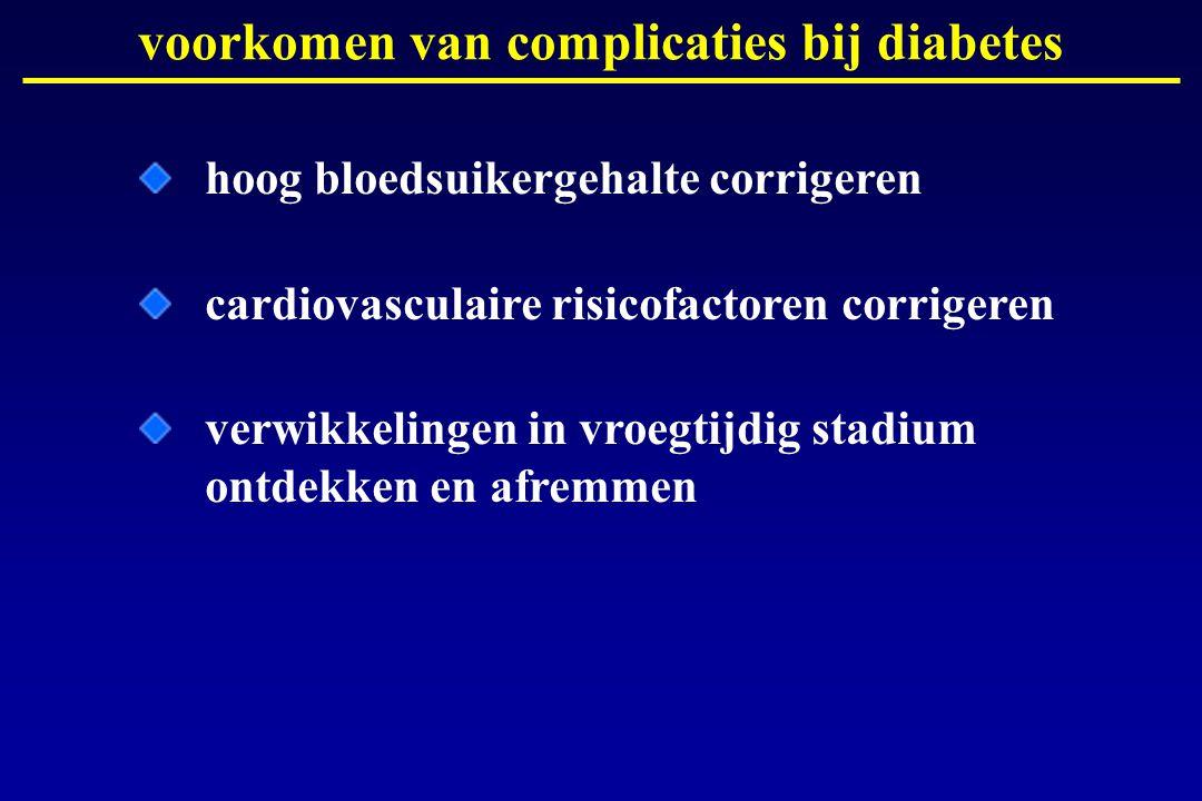 hoog bloedsuikergehalte corrigeren cardiovasculaire risicofactoren corrigeren verwikkelingen in vroegtijdig stadium ontdekken en afremmen voorkomen va