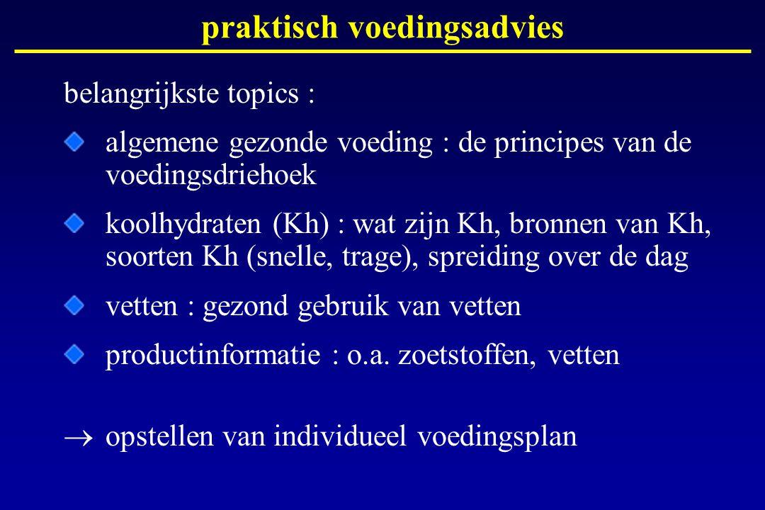 praktisch voedingsadvies belangrijkste topics : algemene gezonde voeding : de principes van de voedingsdriehoek koolhydraten (Kh) : wat zijn Kh, bronn