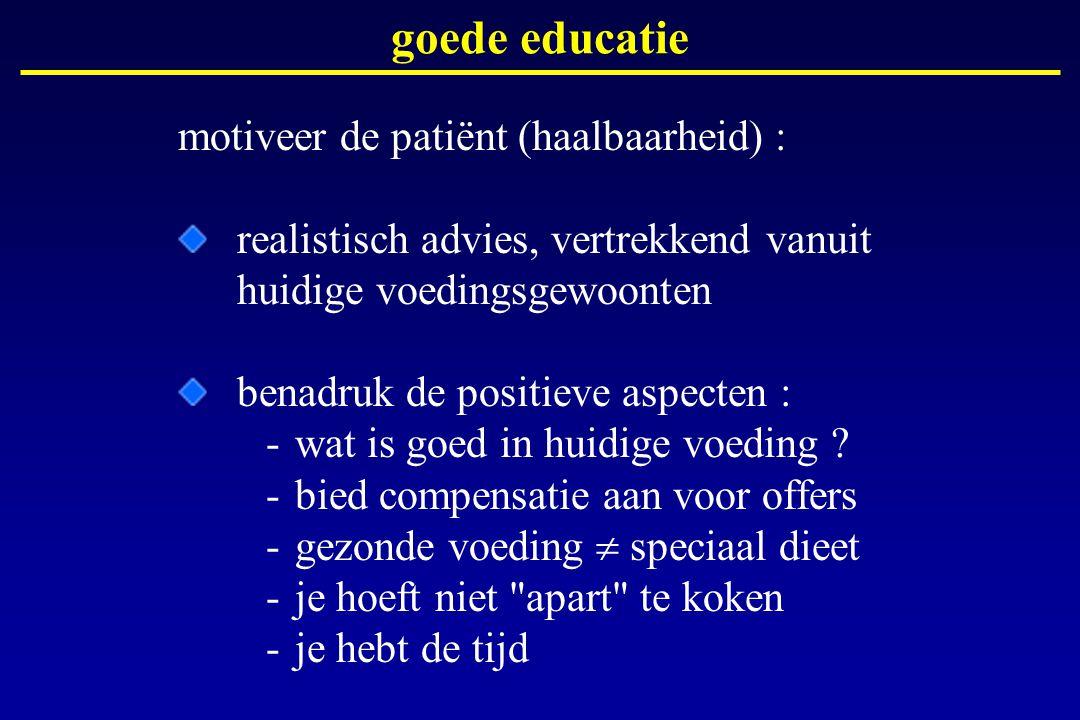 motiveer de patiënt (haalbaarheid) : realistisch advies, vertrekkend vanuit huidige voedingsgewoonten benadruk de positieve aspecten : -wat is goed in
