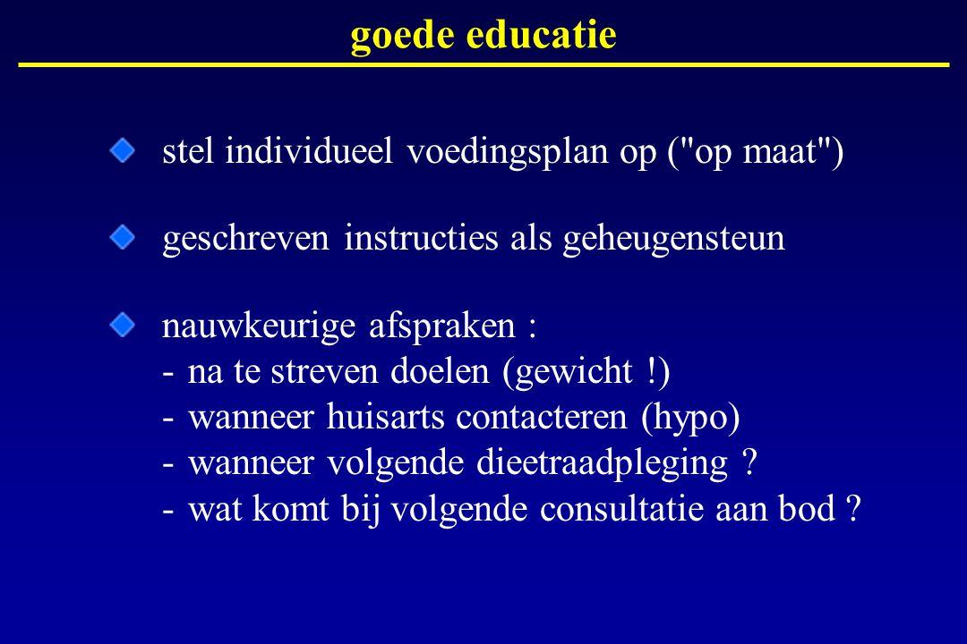 goede educatie stel individueel voedingsplan op (