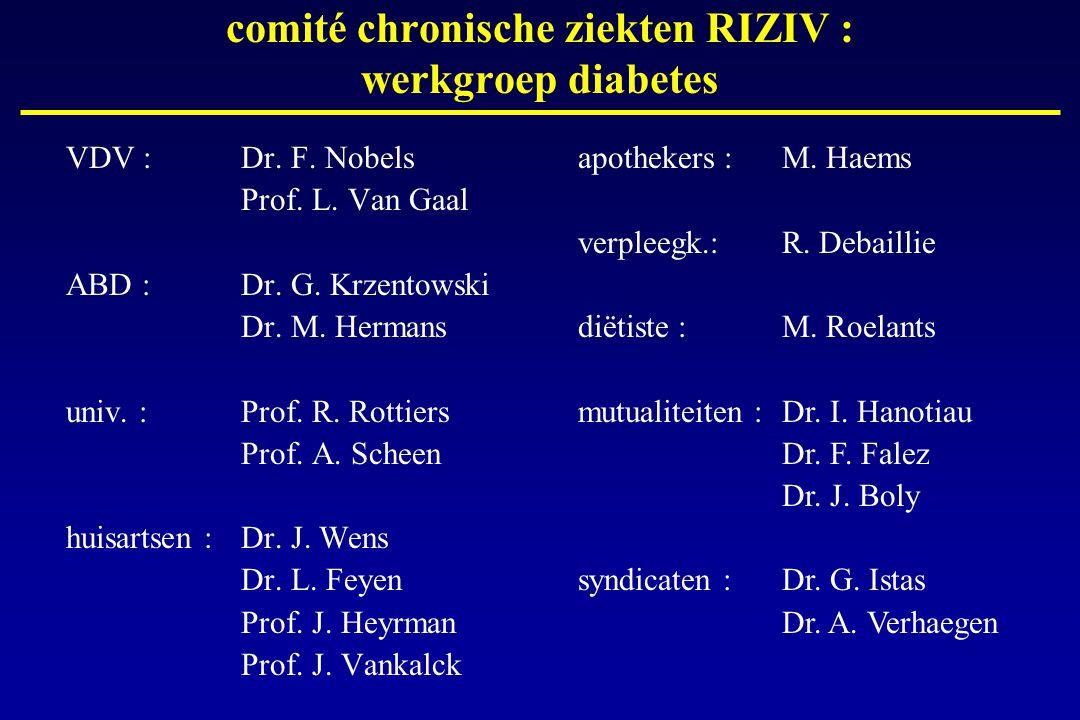 VDV :Dr. F. Nobels Prof. L. Van Gaal ABD : Dr. G. Krzentowski Dr. M. Hermans univ. :Prof. R. Rottiers Prof. A. Scheen huisartsen :Dr. J. Wens Dr. L. F