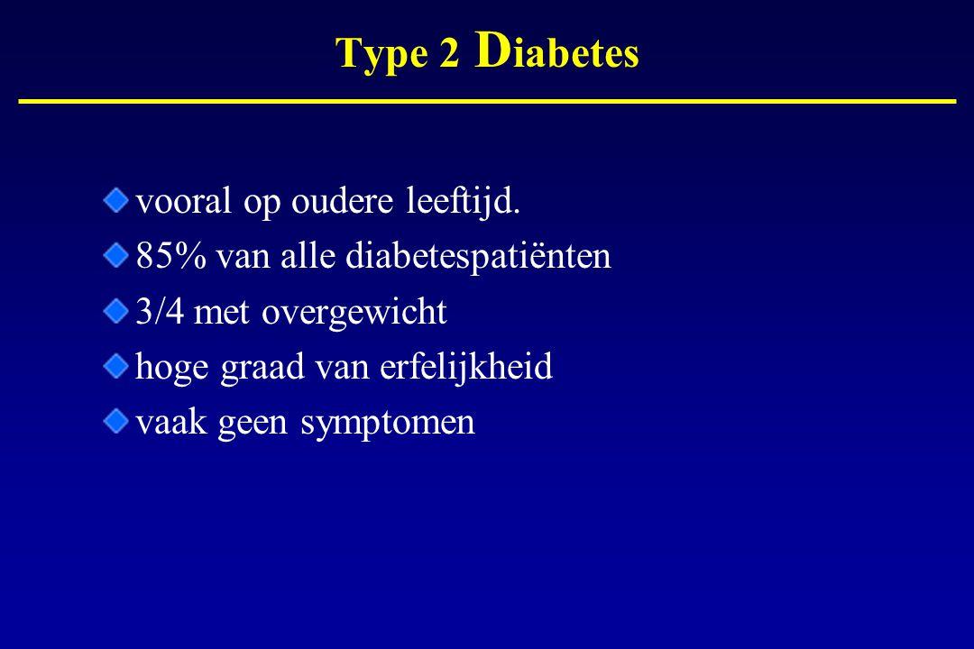 Type 2 D iabetes vooral op oudere leeftijd. 85% van alle diabetespatiënten 3/4 met overgewicht hoge graad van erfelijkheid vaak geen symptomen