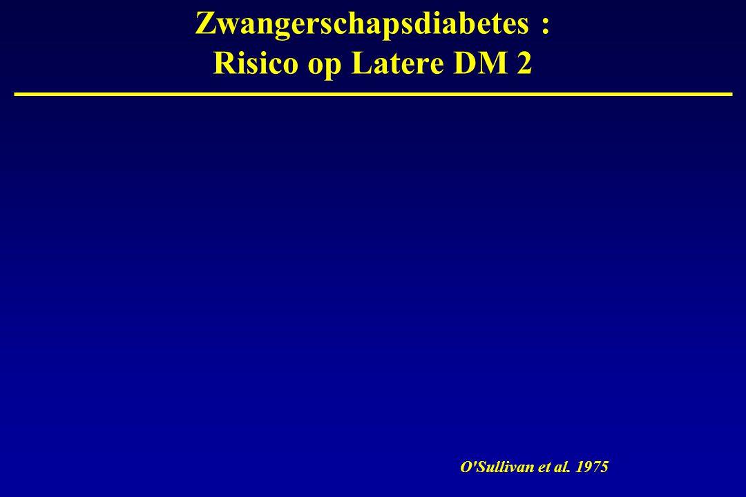 Zwangerschapsdiabetes : Risico op Latere DM 2 O'Sullivan et al. 1975