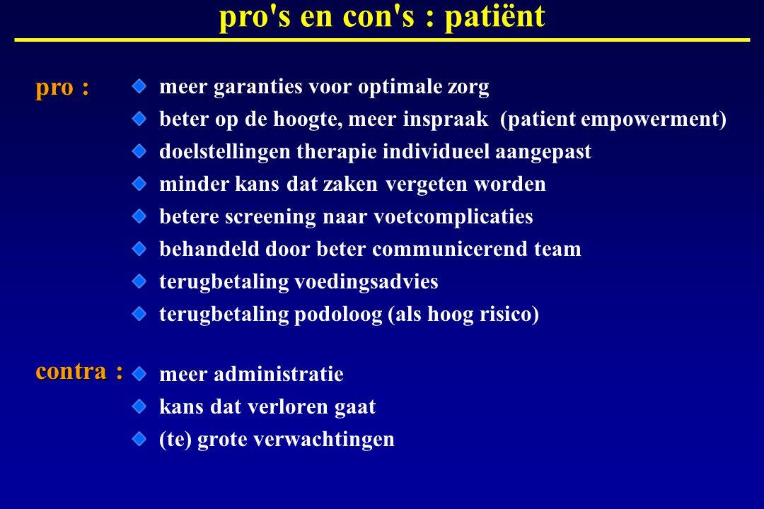 meer garanties voor optimale zorg beter op de hoogte, meer inspraak (patient empowerment) doelstellingen therapie individueel aangepast minder kans da
