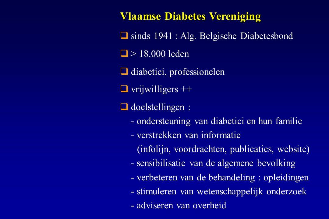 sinds 1941 : Alg. Belgische Diabetesbond  > 18.000 leden  diabetici, professionelen  vrijwilligers ++  doelstellingen : - ondersteuning van diab