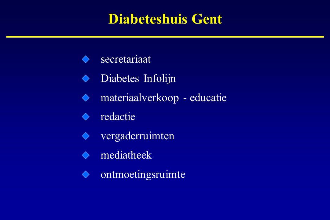 Diabeteshuis Gent secretariaat Diabetes Infolijn materiaalverkoop - educatie redactie vergaderruimten mediatheek ontmoetingsruimte