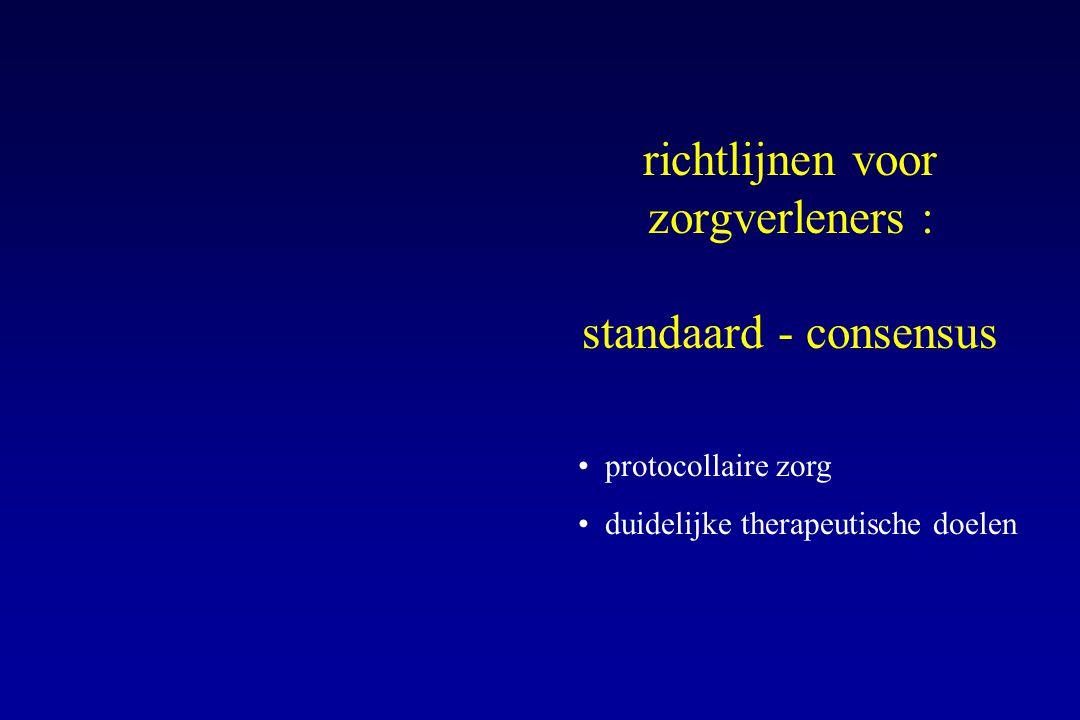 richtlijnen voor zorgverleners : standaard - consensus protocollaire zorg duidelijke therapeutische doelen