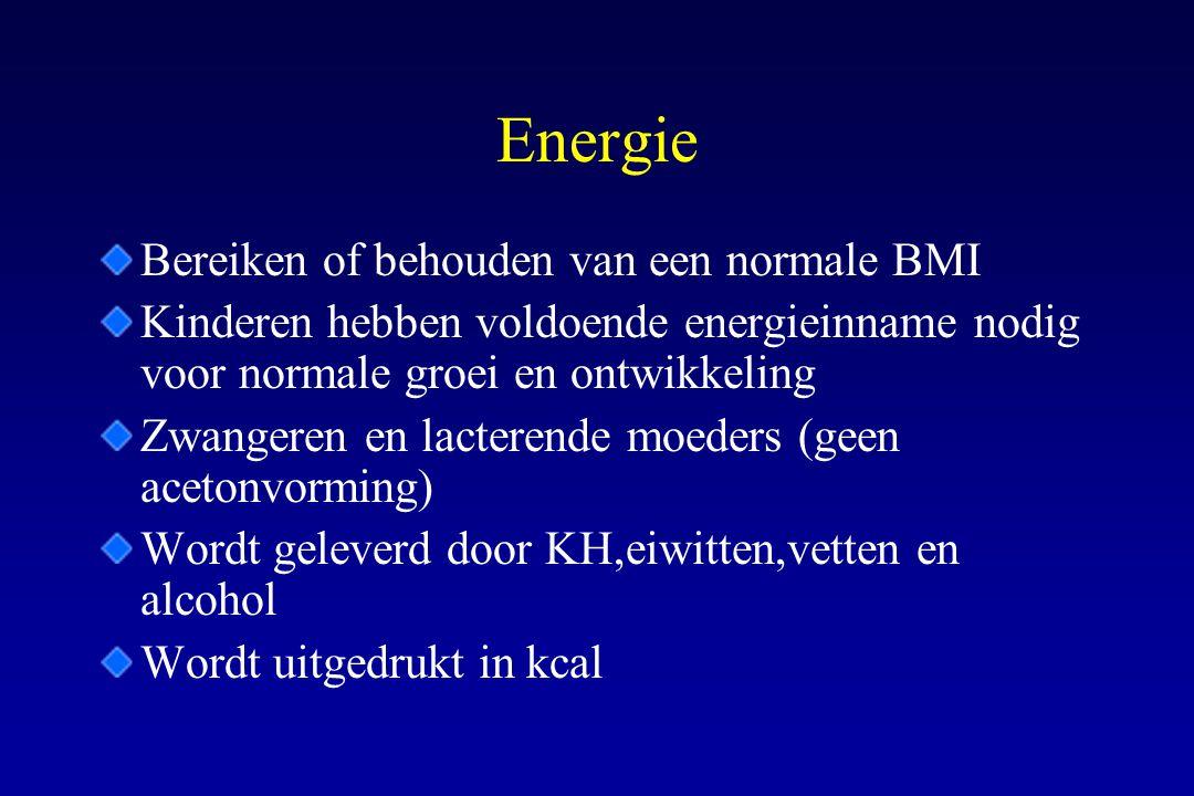 Energie Bereiken of behouden van een normale BMI Kinderen hebben voldoende energieinname nodig voor normale groei en ontwikkeling Zwangeren en lactere