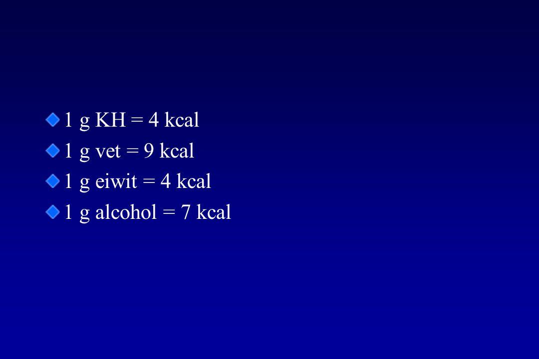 1 g KH = 4 kcal 1 g vet = 9 kcal 1 g eiwit = 4 kcal 1 g alcohol = 7 kcal