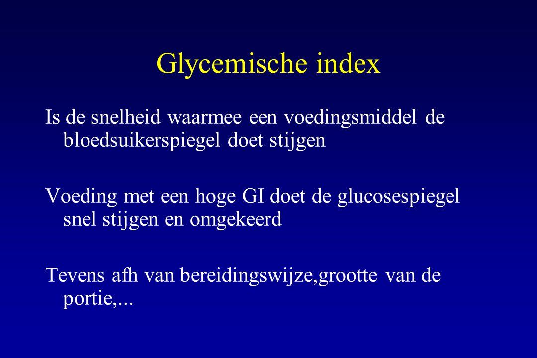 Glycemische index Is de snelheid waarmee een voedingsmiddel de bloedsuikerspiegel doet stijgen Voeding met een hoge GI doet de glucosespiegel snel sti