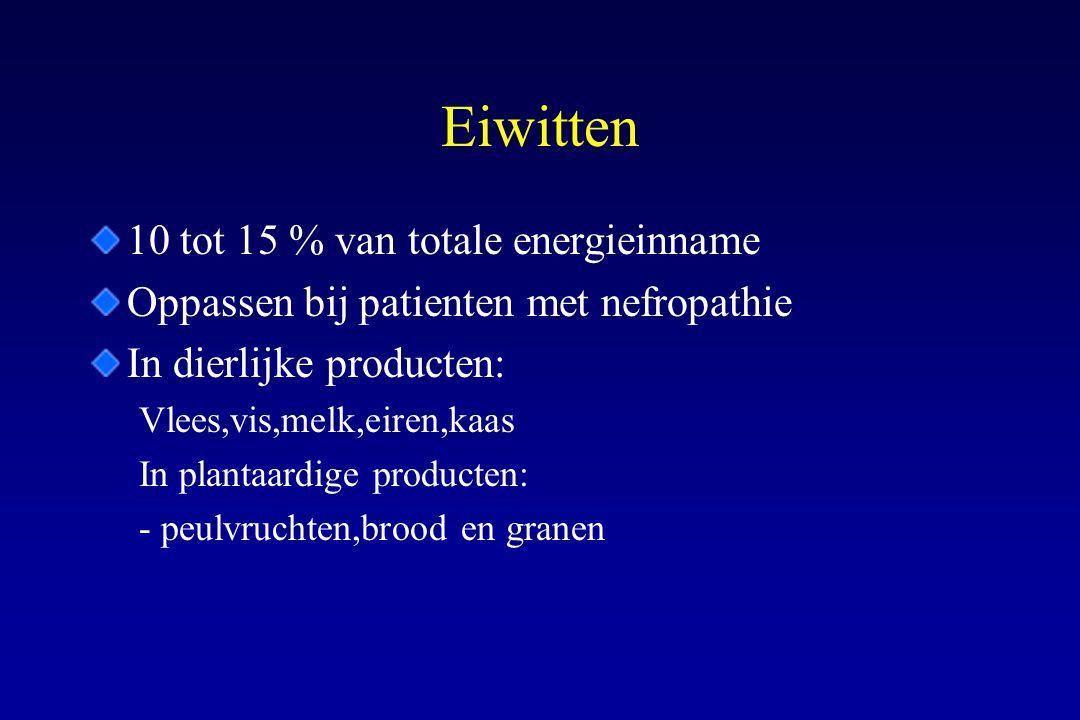 Eiwitten 10 tot 15 % van totale energieinname Oppassen bij patienten met nefropathie In dierlijke producten: Vlees,vis,melk,eiren,kaas In plantaardige