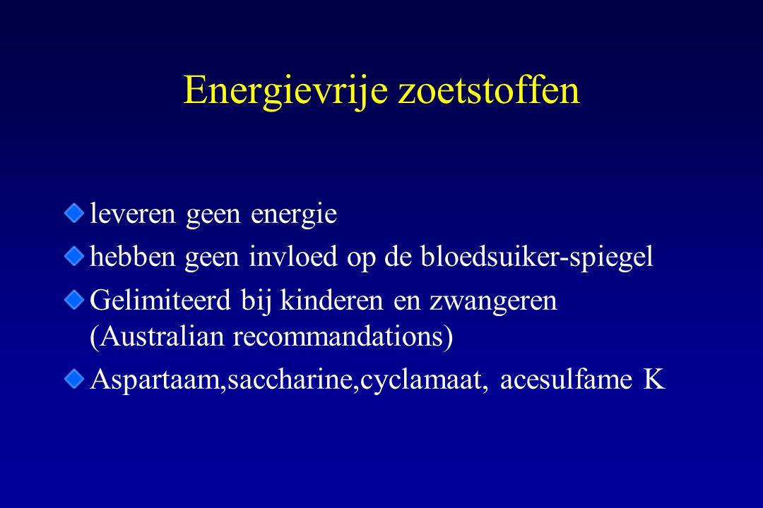 Energievrije zoetstoffen leveren geen energie hebben geen invloed op de bloedsuiker-spiegel Gelimiteerd bij kinderen en zwangeren (Australian recomman