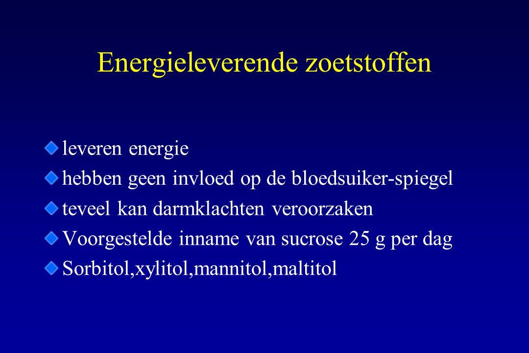 Energieleverende zoetstoffen leveren energie hebben geen invloed op de bloedsuiker-spiegel teveel kan darmklachten veroorzaken Voorgestelde inname van